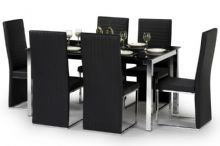 Toronto Black Faux Leather, Glass & Chrome Dining Set